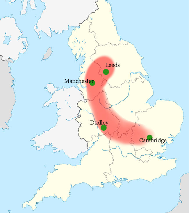 Mild map of England