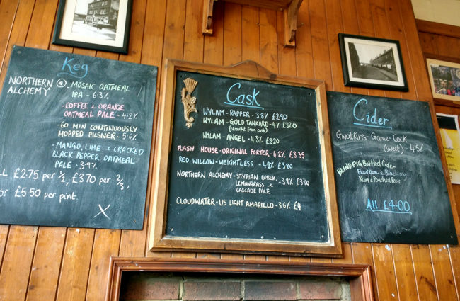 Price list in a pub.