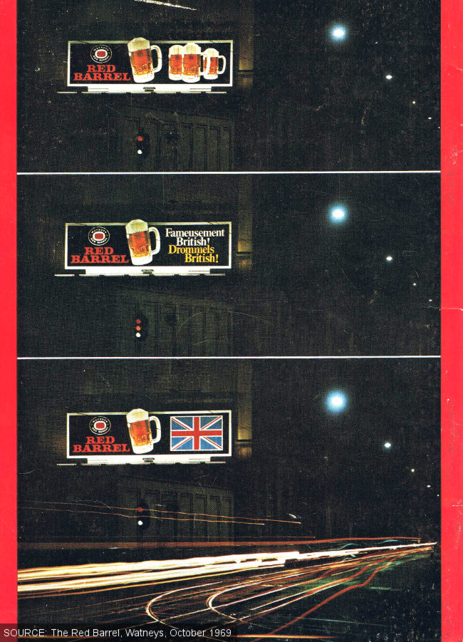Vintage Watney's beer advertisements in Brussels, lit up at night.