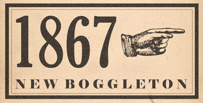 Header graphic: 1867 with Victorian manicule.