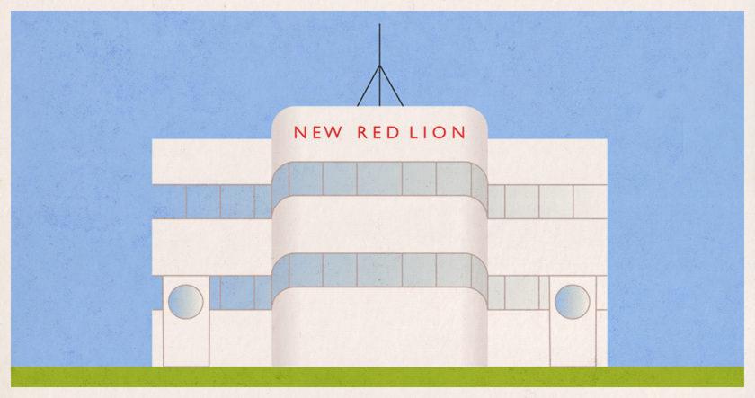 Illustration: The New Red Lion, an art deco pub.