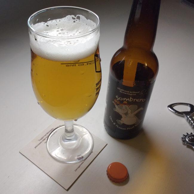 Sombrero Saison in the glass. (Golden beer.)