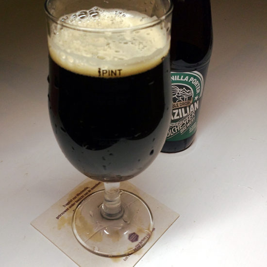 Colchester Brazilian porter in a beer glass.