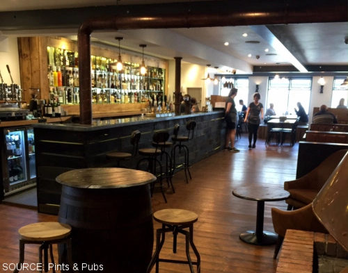 The bar at Beer & Bird.