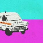 ILLUSTRATION: 1980s police van.