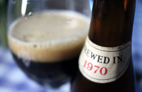 The bottle (brewed in 1970) and the beer.