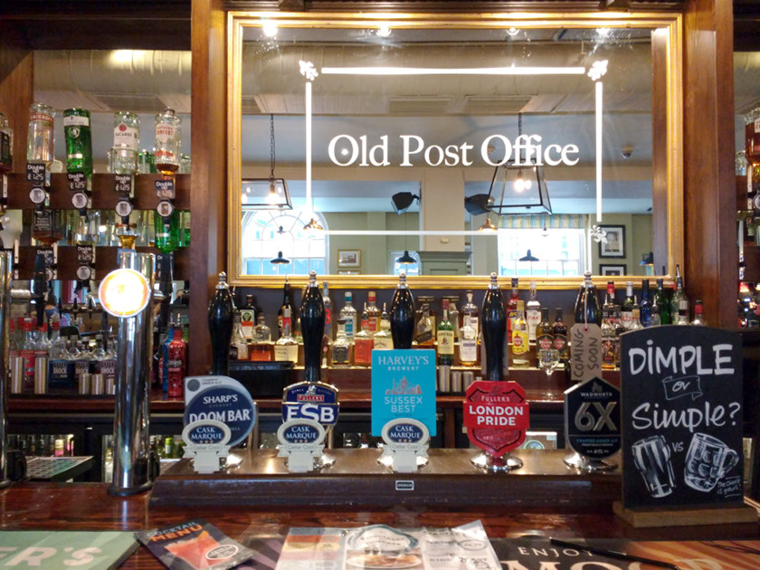 The bar at The Old Post Office.