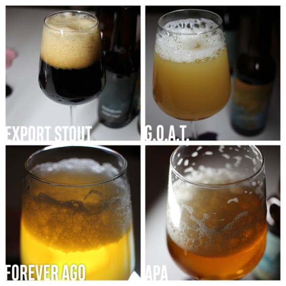 Four beers from Boundary in their glasses.