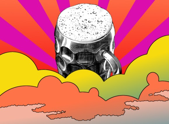Illustration: pint emerging from psychedelic clouds.