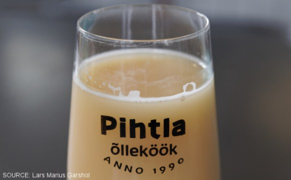 A glass of milky farmhouse ale.