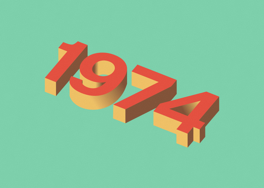 Illustration: 1974 in 3d text.
