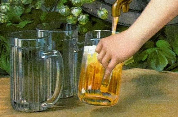 Beer being poured, from an old advertisement.