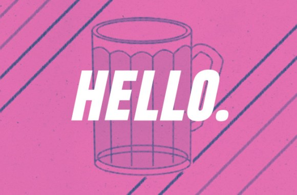 """Hello"" overlaid on a pint glass of beer."