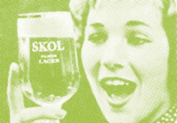 Detail from an advert for Skol, 1960.
