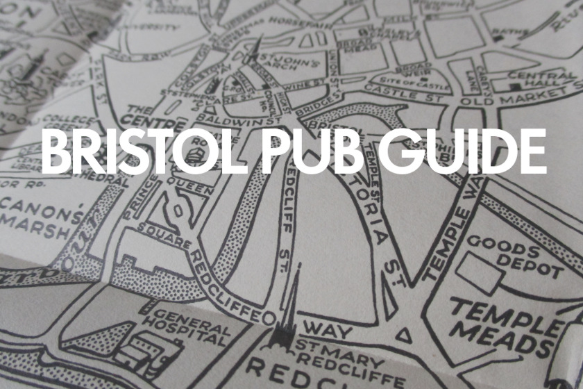 BRISTOL PUB GUIDE with vintage map image.