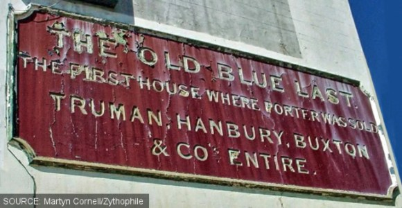 Sign on the rear of the Old Blue Last.