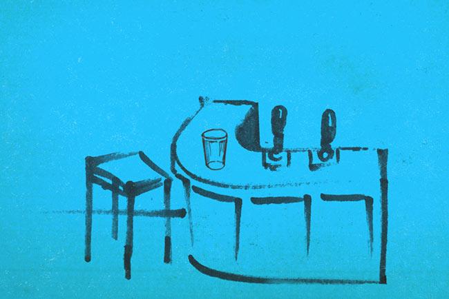 Drawing: a pub bar.