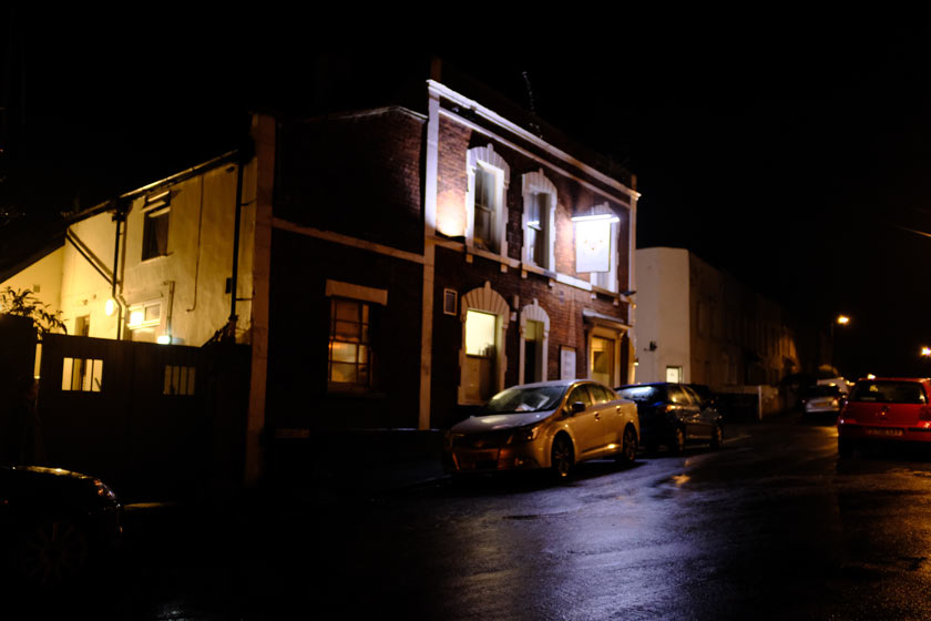 The Shakespeare pub in the dark of night.