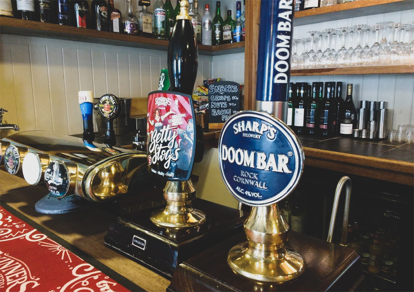 Doom Bar on a pub bar in Cornwall.