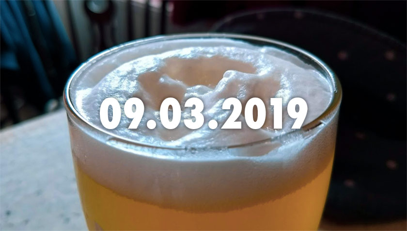 The foam on a pint of beer.