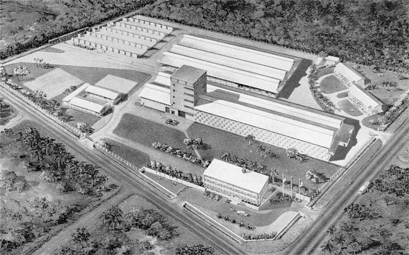 Aerial view of the brewery.