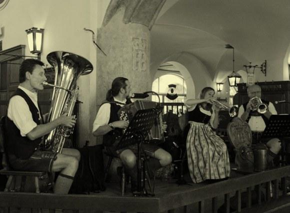 Oompah band at the Hofbrauhaus.