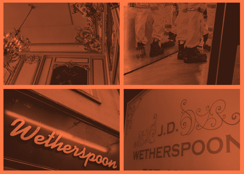A collage of Wetherspoon pubs.