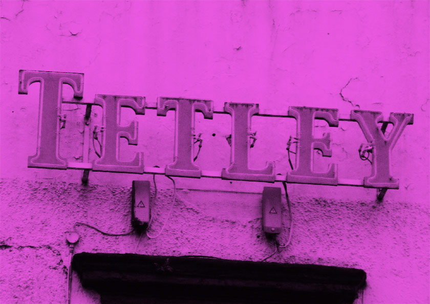 Tetley's sign on a pub.