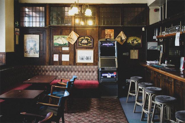 An old-fashioned pub bar.