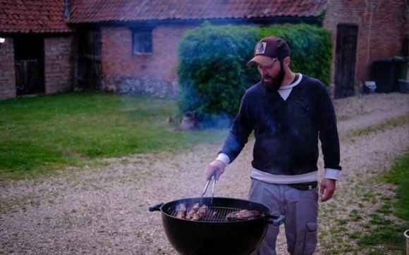 Bates at the grill.