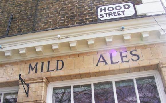 """Sign: """"mild ales""""."""