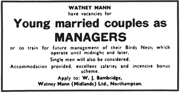 WATNEY MANN have vacancies for Young married couples as MANAGERS or to train for future management of their Birds Nests