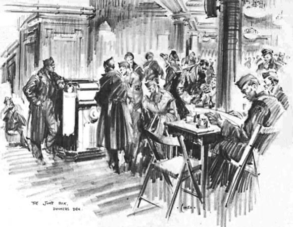 A sketch of American servicemen round a jukebox.