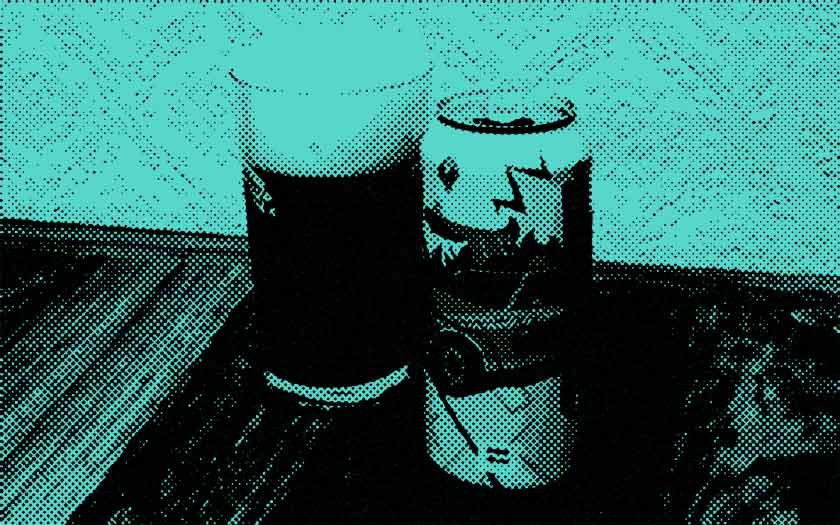 Beer glass and can.