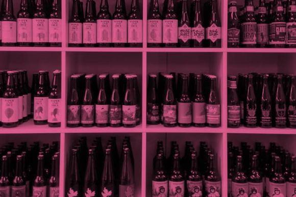 The shelves in a bottle shop