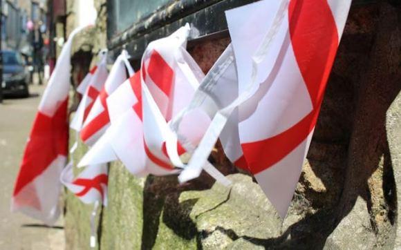 St George flags outside a pub.