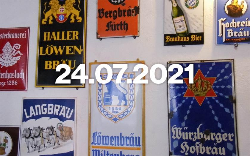 Enamel beer signs.