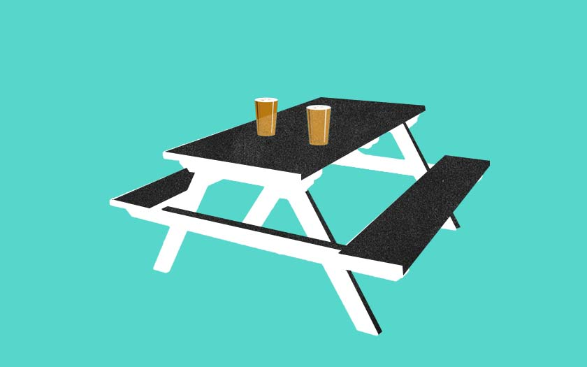 A beer garden table.