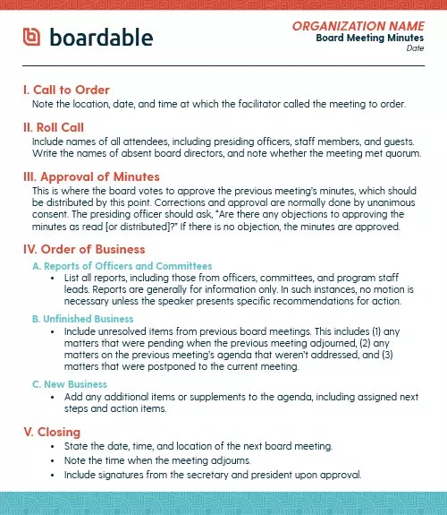Treasurer or finance committee chair points out a. Board Meeting Minutes A Complete Guide And A Free Template