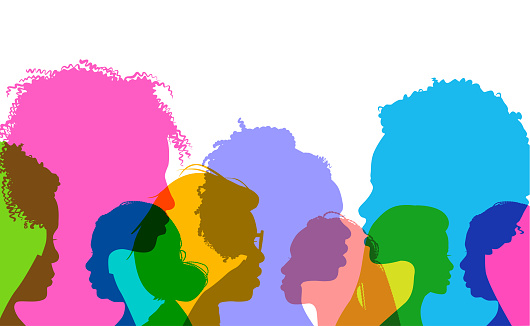 Colorful overlapping silhouettes of black or African American women.
