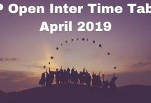 AP Open Inter Time Table April 2019