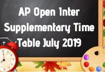 AP Open Inter Supplementary Time Table July 2019