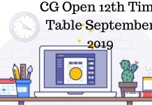 CG Open 12th Time Table September 2019