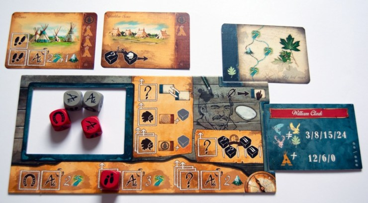 Figure 8: Personal player board after a few turns (Discoveries: The Journals of Lewis & Clark)