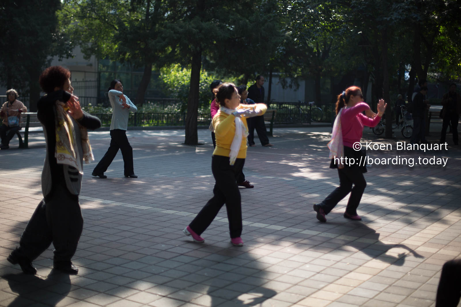 Chinese senior citizens learning a dance in the morning - Beijing