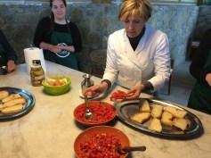 Assembling the tomato bruschetta