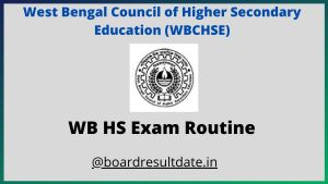 West Bengal HS Exam Routine