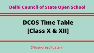DCOS Time Table