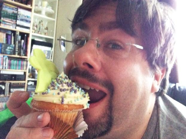 Mike eating birthday cake
