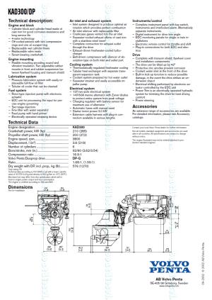 Volvo Penta KAD300 DP Marine Diesel Propulsion Engine by